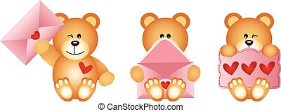 Scalable vectorial image representing a teddy bears with envelope and heart postcard, isolated on white.