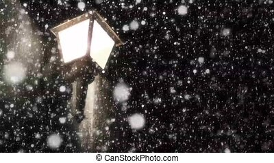 Night Winter Street Lamp With Falling Snow looping...