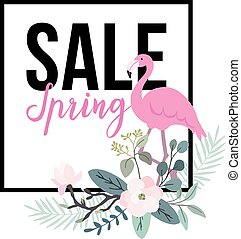 Spring sale poster. Flamingo bird with palm leaves, magnolia...