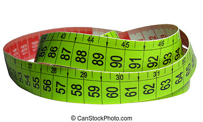 red-green measuring tape coiled around