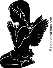 Silhouette cute little girl angel praying