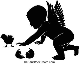 Little angel with Easter chick - Little angel silhouette...