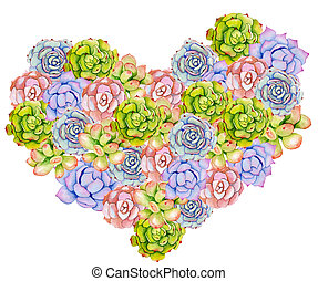Succulent plants and cactus, in the shape of a heart....