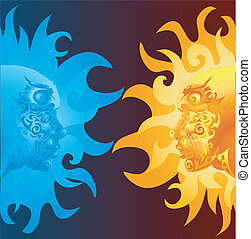 faces illustration - two opposing faces one blue and one...