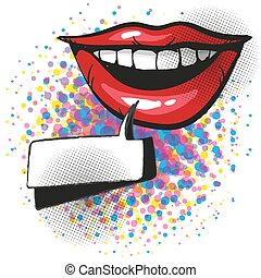 Smiling red lips with teeth and pop art comic speech bubble