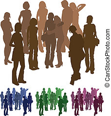 group of friends silhouette illustration - A group of...