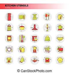 Cooking Utensils Kitchen Equipment Appliances Set Icon...
