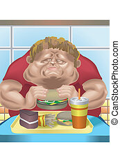 Fat man fast food - An obese man in fast food restaurant...