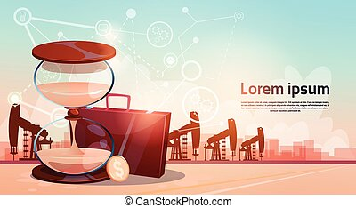 Sand Watch Money Pumpjack Oil Rig Crane Platform Wealth...