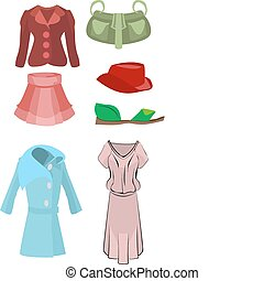 fashion set - A selection of clothes and fashion accessories...