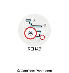 Rehab Hospital Doctors Clinic Medical Treatment Icon Vector...