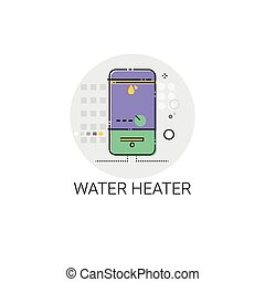 Hot Water Heater Household House Heating Icon Vector...