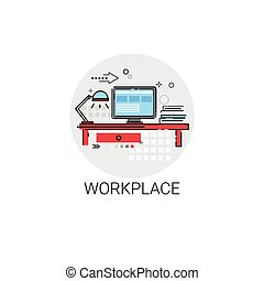 Workplace Desk Computer Workspace Office Icon Vector...