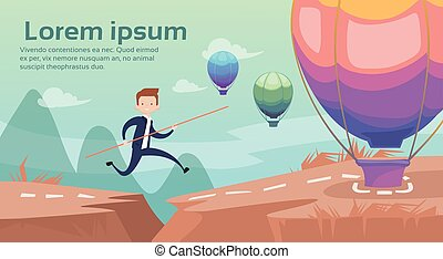 Business Man Jump Dangerous Mountain Gap Risk Concept