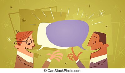 Two Businessman Talking Chat Box Bubble Communication...