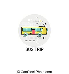 Bus Trip Tour Tourism Transport Icon Vector Illustration