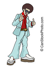 Retro disco man - Illustration of funky young man with afro...
