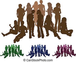 groep, Vrienden, silhouette, illustratie