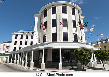 Bahamian Capital Architecture - Streets and and buildings in...