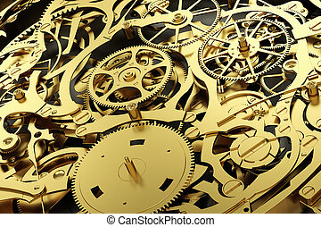 Gold mechanism, clockwork with working gears. Close-up,...