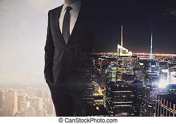 Workaholic concet - Businessman on abstract day and night...