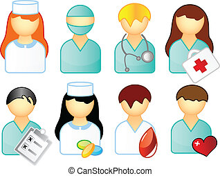 set of medical people isolated over white background
