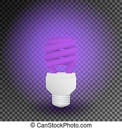 Fluorescent ultraviolet economical light bulb glowing on a...