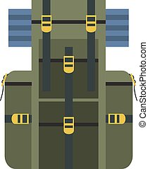 Vector illustration of green travel backpack with hiking...