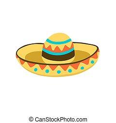 sombrero hat icon - Traditional mexican hat symbol. Sombrero...