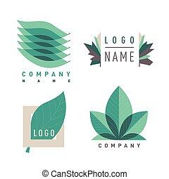 Green leaf logotipes set