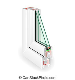 Plastic Window Frame Profile. Two Transparent Glass. Vector...