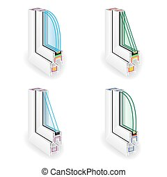 Plastic Window Frame Profile Set. Energy Efficient Window...
