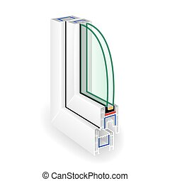 Window Frame Structure. Two Transparent Glass. Vector...