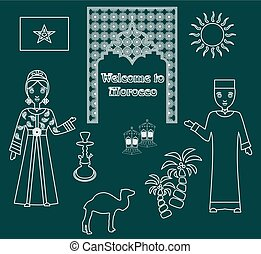 the morocco set white - set in the style of a flat design on...