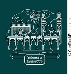 welcome to morocco white - illustration in the style of a...
