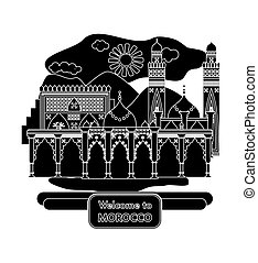 welcome to morocco black - illustration in the style of a...