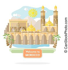 welcome to morocco - illustration in the style of a flat...