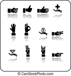 hands icon set - A hand elements icon set