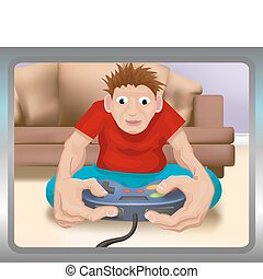 gamer illustration - A boy playing on a games console.