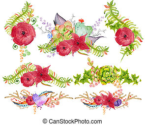 Watercolor antler and bouquet with succulent, cactus, flower...