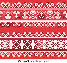 Ukrainian or Belarusian folk art embroidery pattern in red...