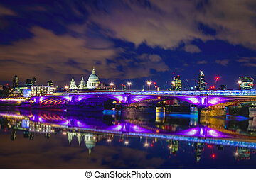 Blackfriars bridge at night, London, UK