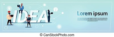 Business People Group New Idea Concept Creative Brainstorm Cooperation Banner