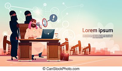 Arab Business Man Working WIth Laptop Computer Pumpjack Oil...