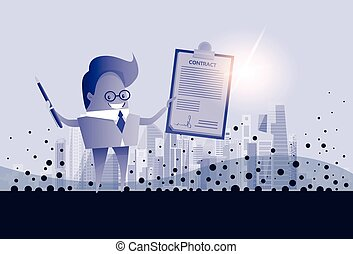 Business Man Hold Paper Document Sign Contract Concept