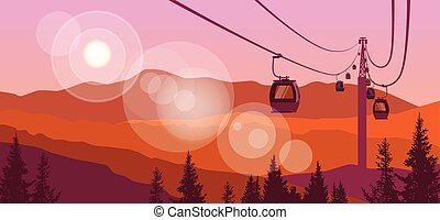 Cable Car Transportation Rope Way Over Mountain Hill Nature Background Banner With Copy Space