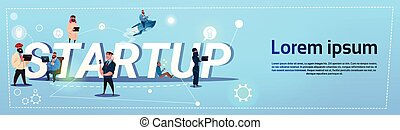 Business People Group Startup New Idea Concept Creative Brainstorm Cooperation Banner