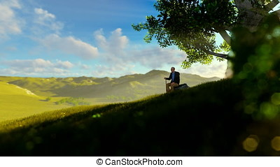 Grandfather on green meadow, resting under a tree, tilt