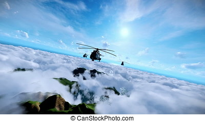 Military helicopters animation formation cruising above clouds, ocean and mountain peaks