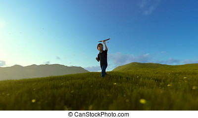 Little boy with airplane and grandfather resting on green meadow, morning sun, panning